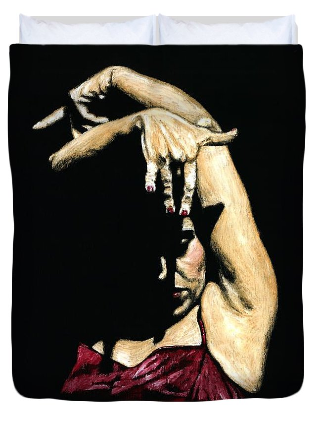Flamenco Duvet Cover featuring the painting Seclusion Del Flamenco by Richard Young
