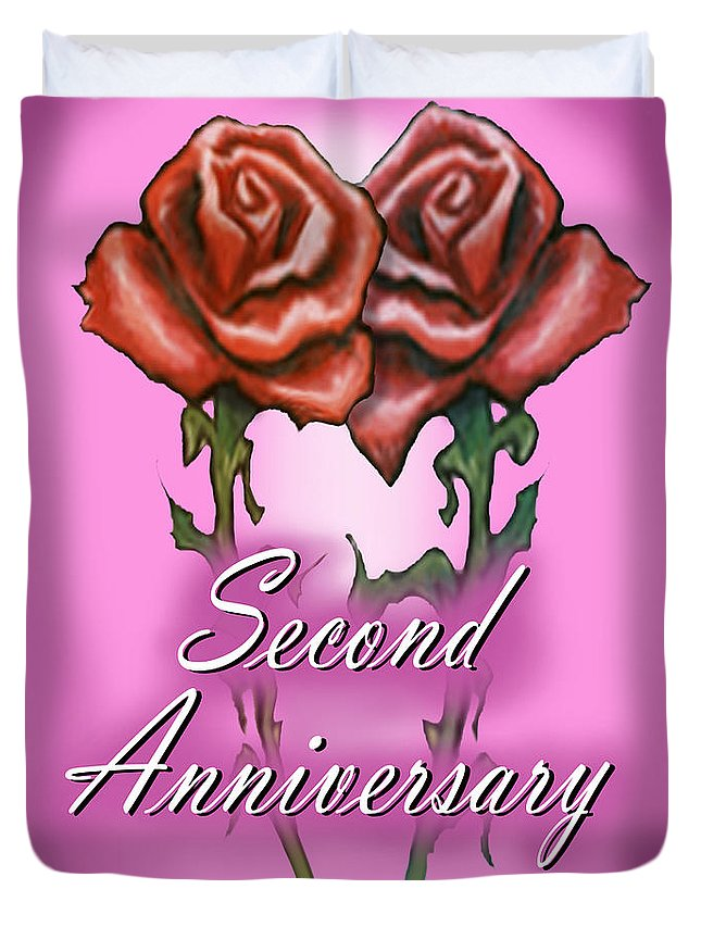 Second Duvet Cover featuring the greeting card Second Anniversary by Kevin Middleton