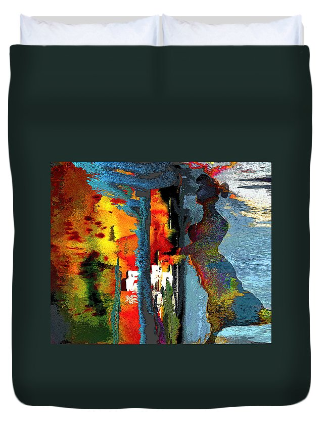 Fantasy Duvet Cover featuring the painting Secret Date by Miki De Goodaboom