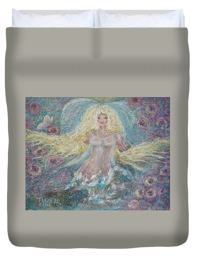 Angel Duvet Cover featuring the painting Secret Garden Angel 3 by Natalie Holland
