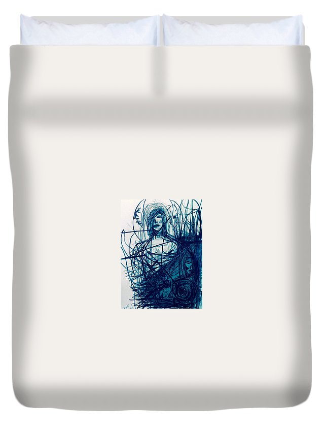 Kiss Duvet Cover featuring the painting Secret Kiss -i by Kaltrina Hoti