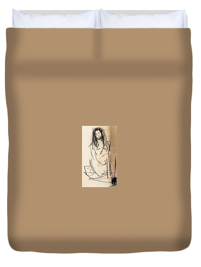 Duvet Cover featuring the drawing Secret by Kaltrina Hoti