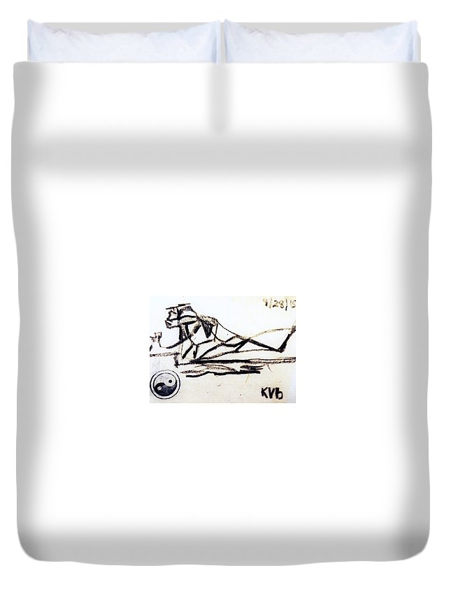 Duvet Cover featuring the painting Secret Kiss -iv by Kaltrina Hoti