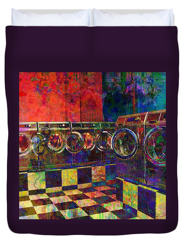 Laundry Duvet Cover featuring the digital art Secret Life Of Laundromats by Barbara Berney