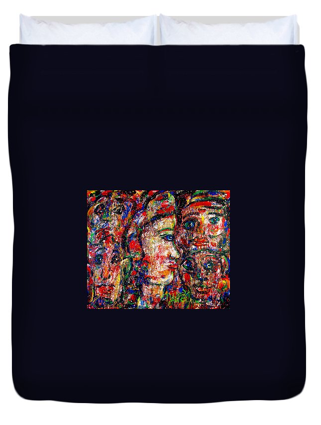 Free Expressionism Duvet Cover featuring the painting Secret Lovers by Natalie Holland