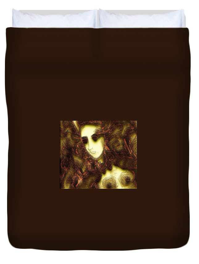 Nymph Duvet Cover featuring the painting Secret Nymph by Natalie Holland