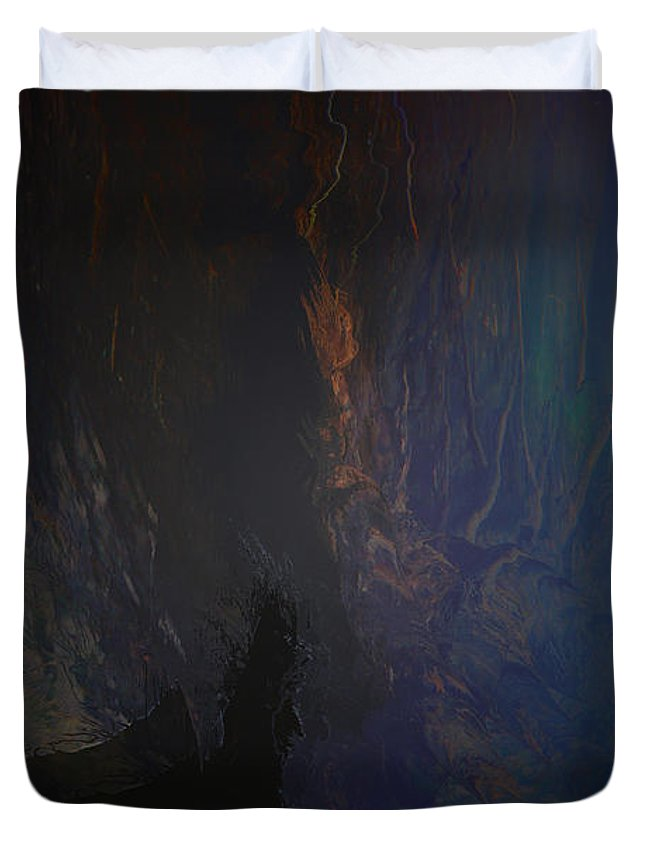 Woman Girl Lady Mysterious Mystery Sanctuary Trees Water Land Cave Abstract Secret Place Duvet Cover featuring the photograph Secret Place by Andrea Lawrence