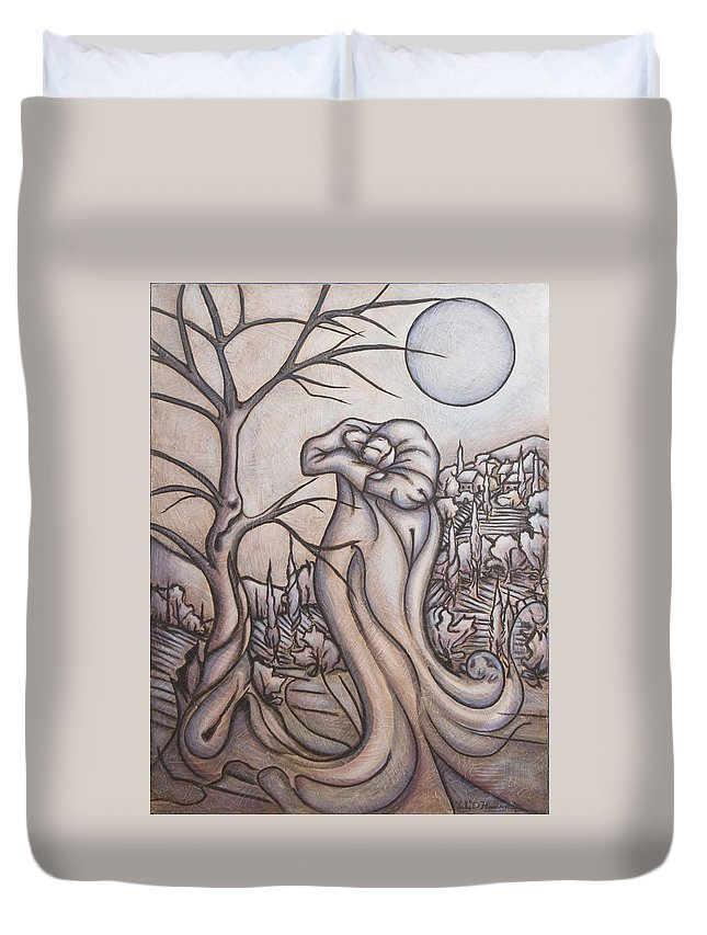 Dream. Moon Duvet Cover featuring the painting Secrets And Dreams by Judy Henninger