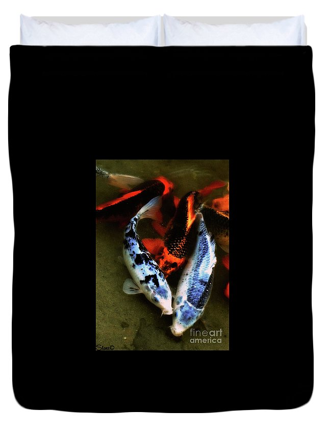 Koi Duvet Cover featuring the photograph Secrets Of The Wild Koi 10 by September Stone