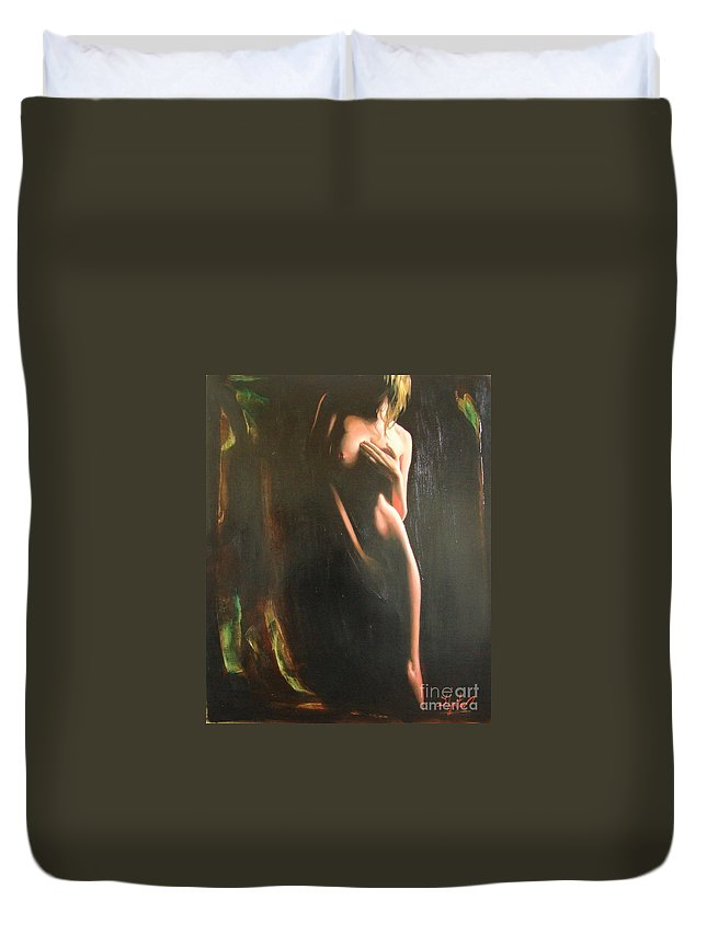 Art Duvet Cover featuring the painting Secrets by Sergey Ignatenko