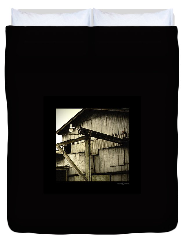 Corrugated Duvet Cover featuring the photograph Security Light by Tim Nyberg