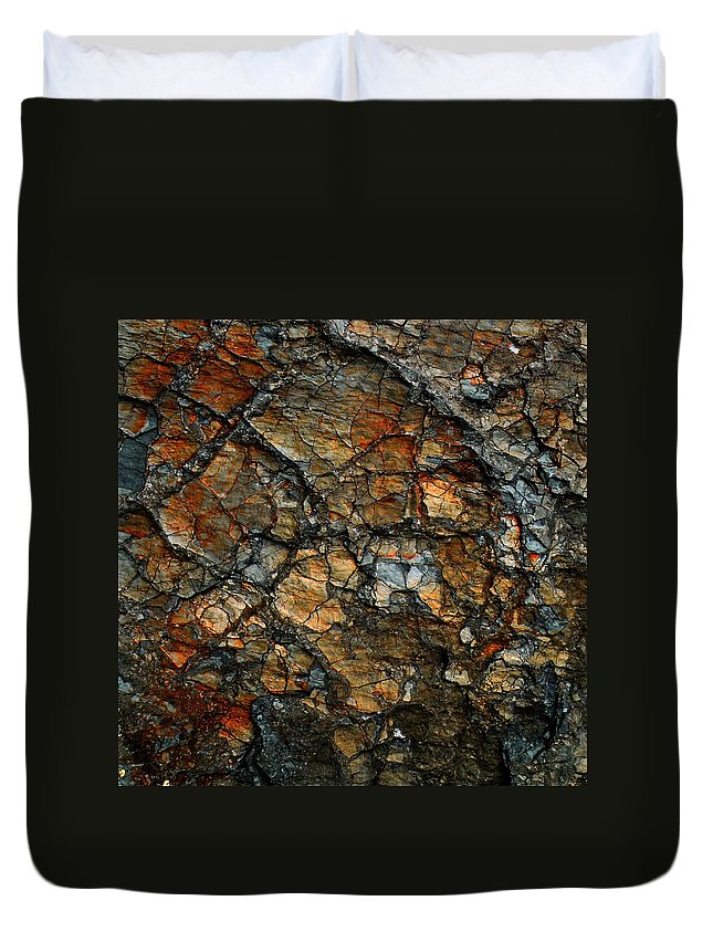 Abstract Duvet Cover featuring the digital art Sedimentary Abstract by Dave Martsolf