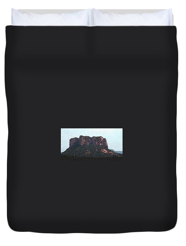 Altered Photography Duvet Cover featuring the photograph Sedona Rock Formation by Wayne Potrafka