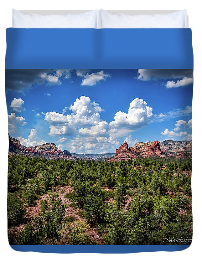 Landscape Photography Duvet Cover featuring the photograph Sedona Skies by Eric M Bass