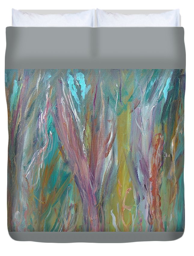 Forest Duvet Cover featuring the painting See The Woods For The Trees by Max Bowermeister