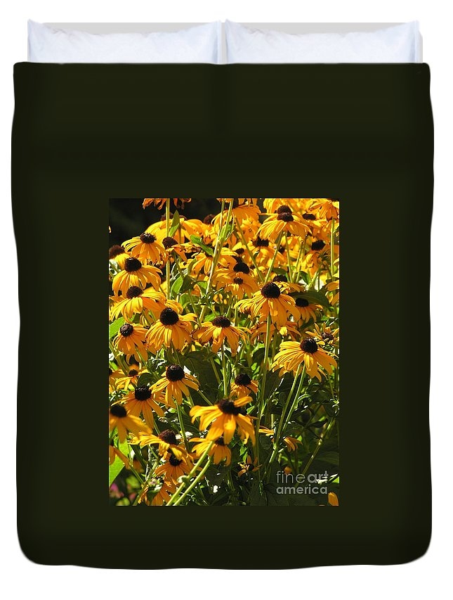 Sunflower Duvet Cover featuring the photograph See Us Together by Diane Greco-Lesser
