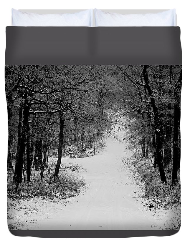 Snow Duvet Cover featuring the photograph See Where It Leads. by Jean Macaluso