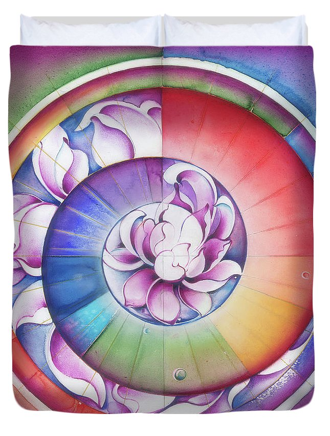 Seed Duvet Cover featuring the painting Seed Of Life - Mandala Of Divine Creation by Anna Miarczynska