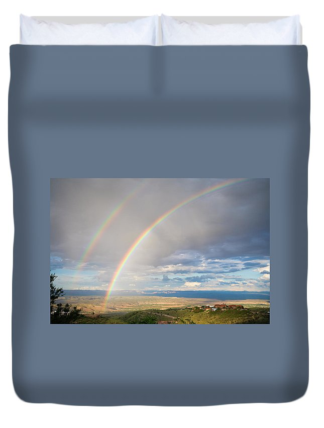 Rainbow Duvet Cover featuring the photograph Seeing Double by Alexey Stiop