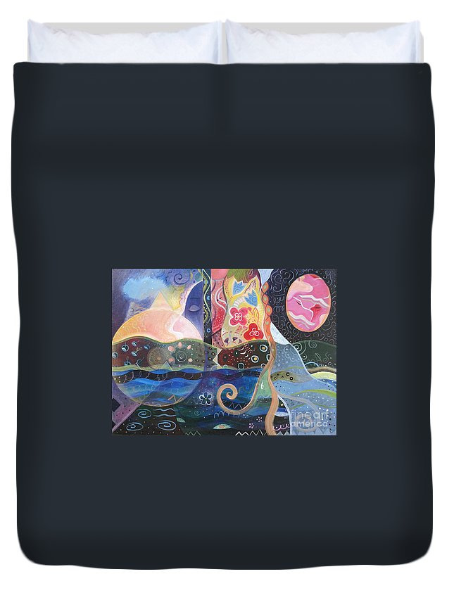 Seeker Duvet Cover featuring the painting Seeking Wisdom by Helena Tiainen