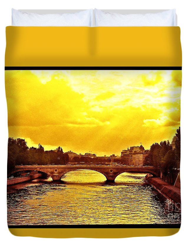 France Duvet Cover featuring the photograph Seine View by Madeline Ellis