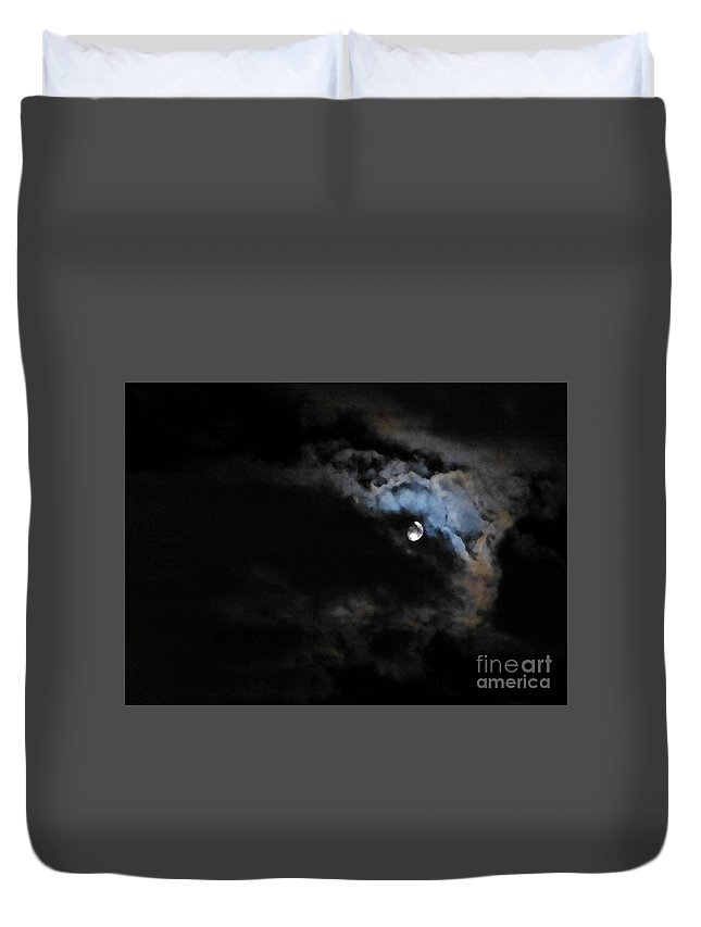 Moon Duvet Cover featuring the photograph Selene Peaking From The Clouds by As the Dinosaur Flies Photography