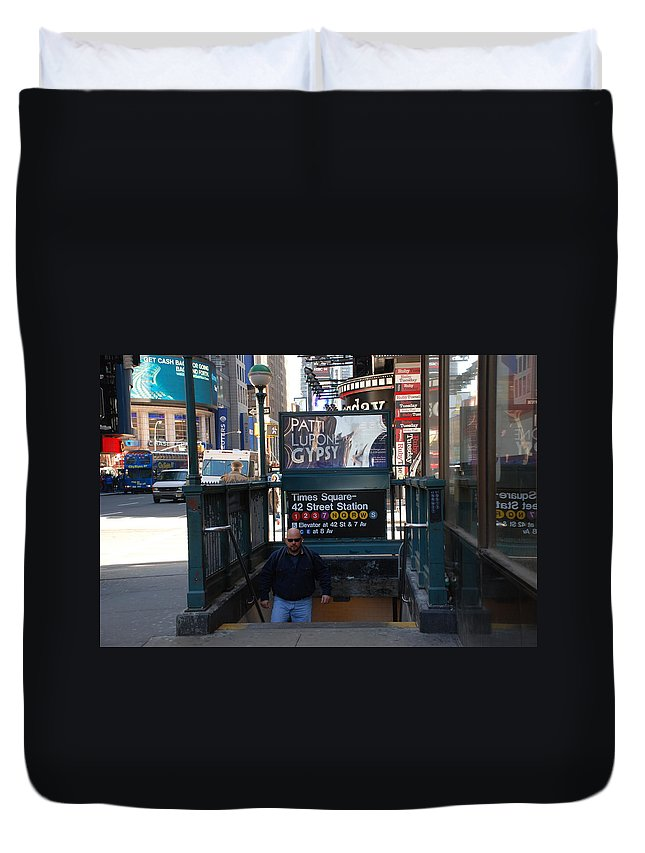 Subay Duvet Cover featuring the photograph Self At Subway Stairs by Rob Hans