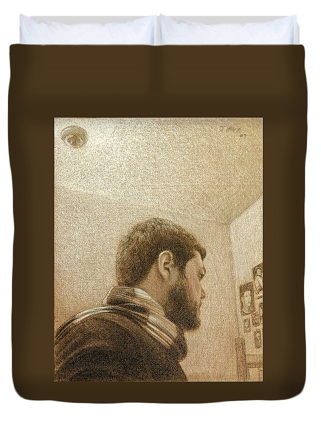 Duvet Cover featuring the painting Self by Joe Velez