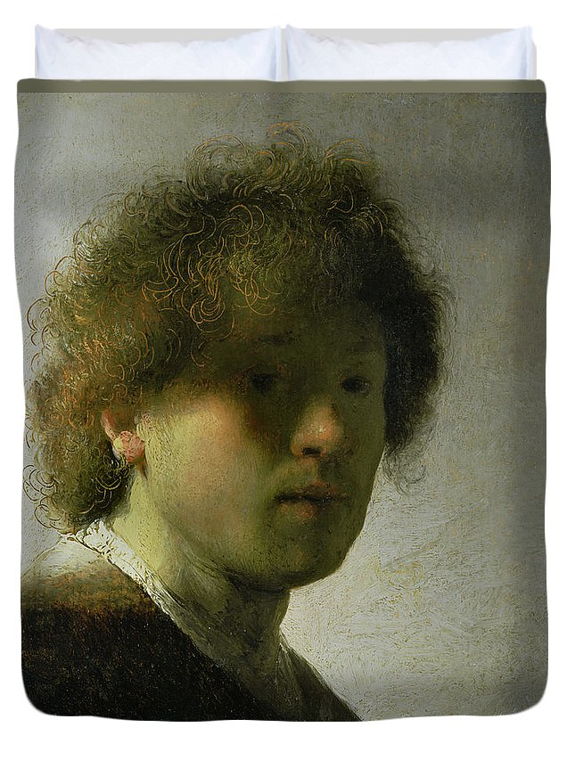 Self Duvet Cover featuring the painting Self Portrait As A Young Man by Rembrandt