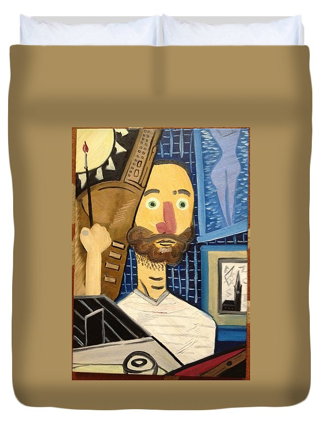 Self-portrait Painter Homage To Picasso Modern Blue Nude Oil Paint Brush Duvet Cover featuring the painting Self-portrait As Homage To Picasso by Costin Tudor