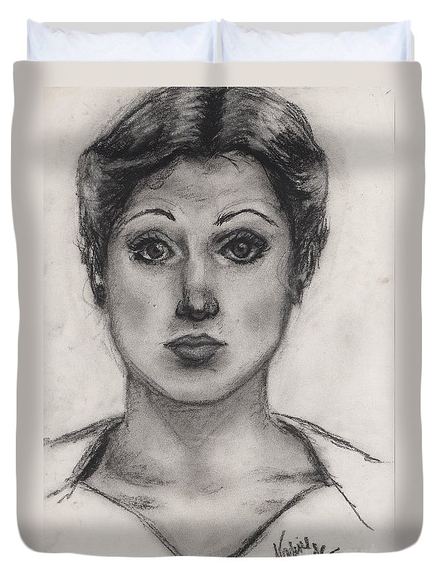 Nadine Duvet Cover featuring the drawing Self Portrait At Age 18 by Nadine Rippelmeyer