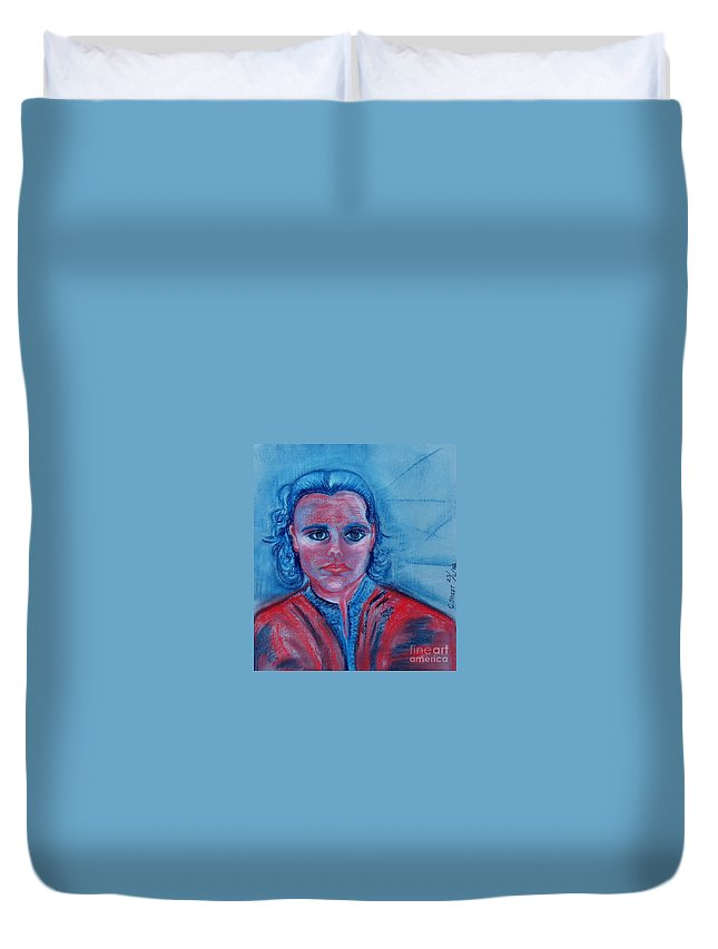 Self-portrait Duvet Cover featuring the drawing Self Portrait by Caroline Street