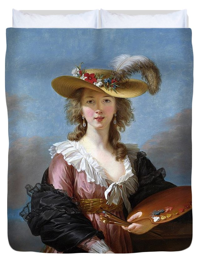 Elisabeth Louise Vigee Lebrun Duvet Cover featuring the painting Self Portrait In A Straw Hat by Elisabeth Louise Vigee Lebrun