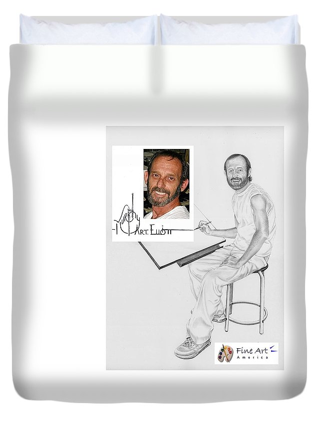 Pencil Duvet Cover featuring the drawing Self Portrait by Murphy Elliott