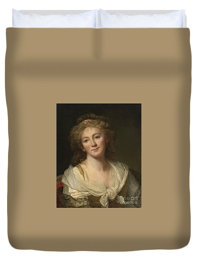 Attributed To Marie-genevirve Bouliar Duvet Cover featuring the painting Self-portrait Of The Artist by Celestial Images