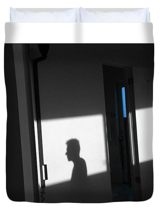Silhouette Duvet Cover featuring the photograph Self-portrait Shadow 3 by Stan Magnan