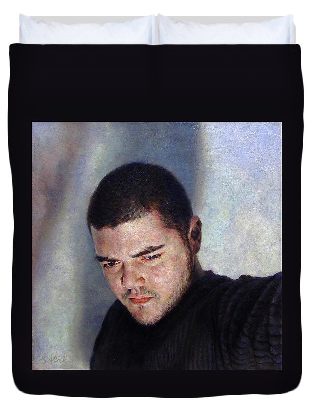 Self Duvet Cover featuring the painting Self Portrait w Shadows by Joe Velez