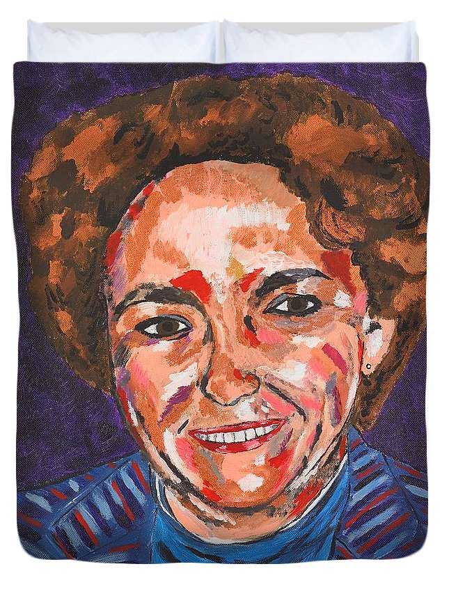 Portrait Duvet Cover featuring the painting Self-portrait With Blue Jacket by Valerie Ornstein