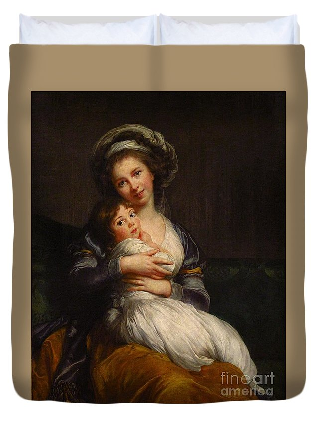 Mary Elizabeth Louise (french Portraitist Duvet Cover featuring the painting Self-portrait With Her Daughter Jeanne-lucie by Celestial Images