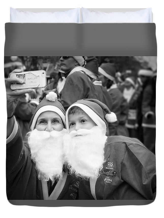 Alan Brown Duvet Cover featuring the photograph Selfie With Santa by Alan Brown