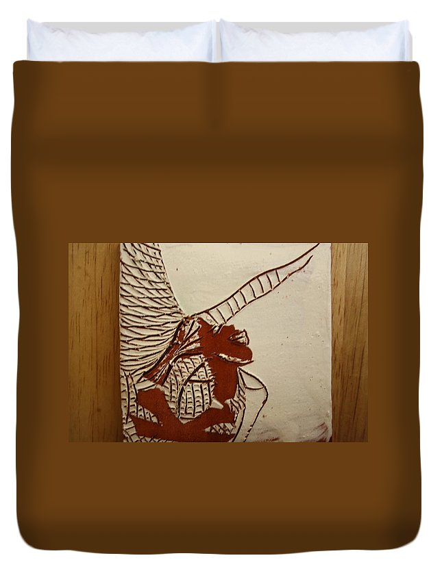 Jesus Duvet Cover featuring the ceramic art Selina - Tile by Gloria Ssali
