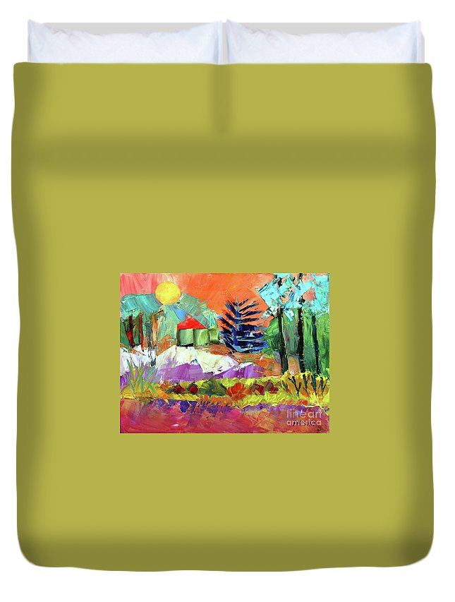 Sellersville Duvet Cover featuring the painting Sellersville Sunset by Pamela Parsons
