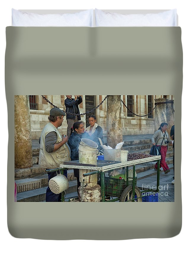 Alfresco Duvet Cover featuring the photograph Selling And Roasting Chestnuts by Patricia Hofmeester