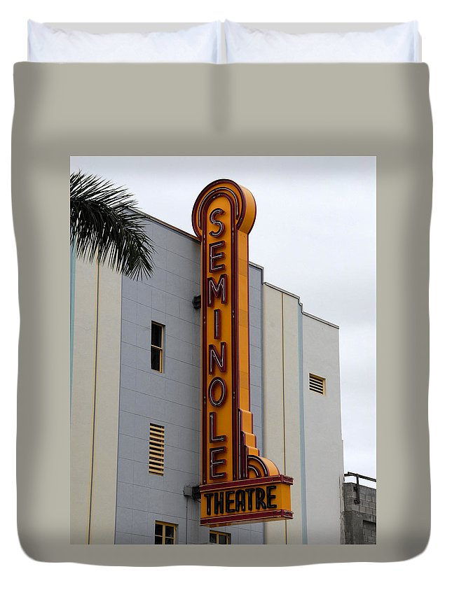 Fine Art Photography Duvet Cover featuring the photograph Seminole Theatre 1940 by David Lee Thompson