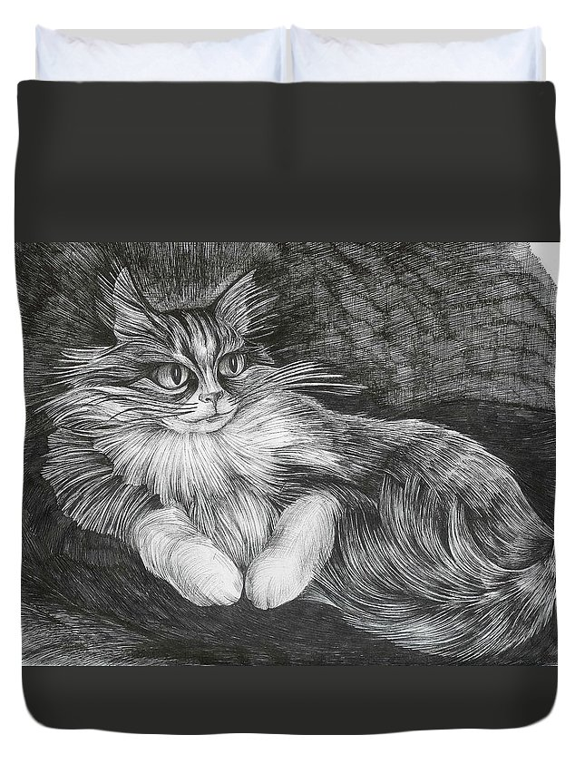 Cat Duvet Cover featuring the drawing Semona by Anna Duyunova
