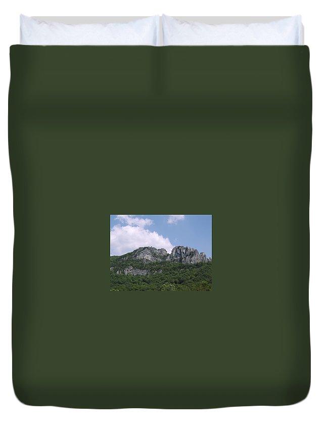 Seneca Rocks West Virginia Images Photographs Prints Appalachian Blue Ridge Mountain Landscape Images Nature Duvet Cover featuring the photograph Seneca Rocks by Joshua Bales
