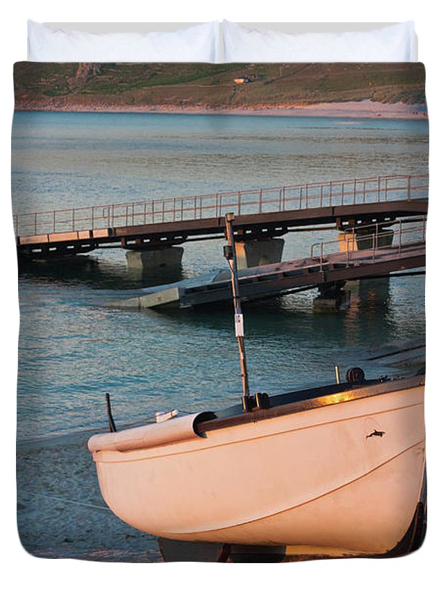 Sennen Cove Duvet Cover featuring the photograph Sennen Cove Boat At Sunset by Terri Waters