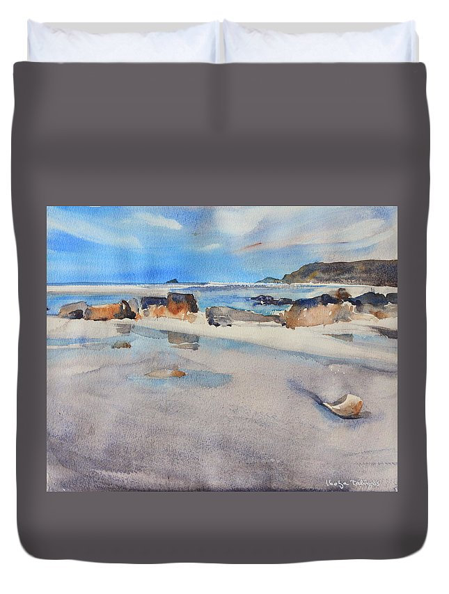 Sennen Cove Duvet Cover featuring the painting Sennen Cove Low Tide by Ibolya Taligas