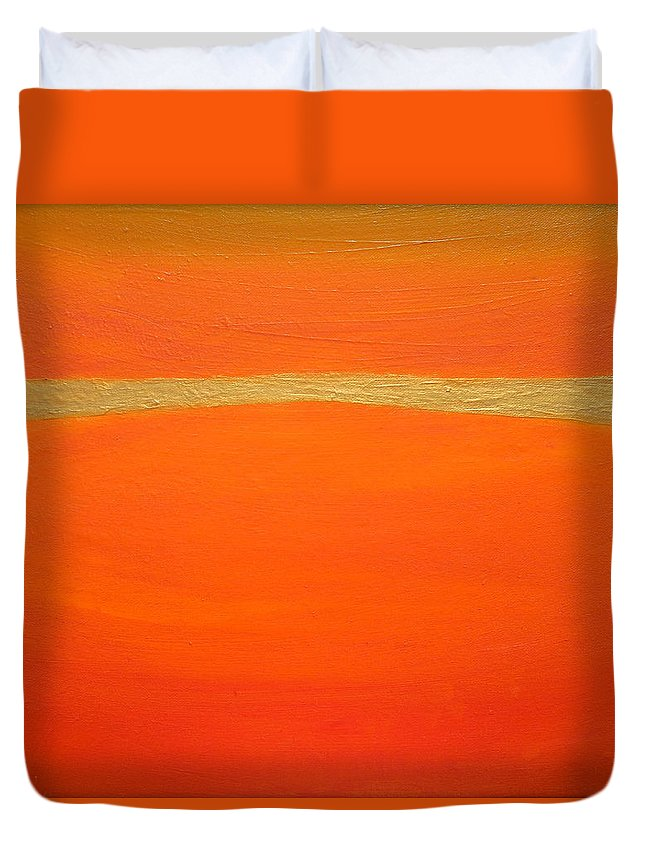Orange Duvet Cover featuring the painting Sensation by Holly Anderson