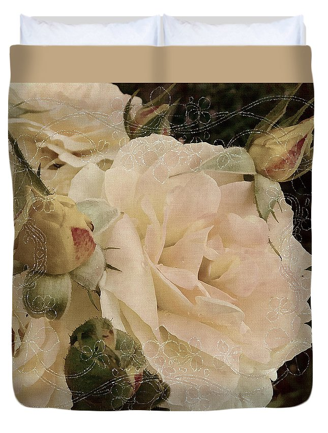 Roses Duvet Cover featuring the mixed media Sensual Kiss Of Yesteryear by Georgiana Romanovna